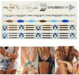 Etiqueta engomada temporal impermeable metálica de cadena azul de plata del tatuaje del oro