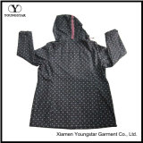 Ys-1067 Printed Black Microfleece Impermeável Respirável Womens Hooded Softshell Jacket