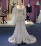 Sitz und Aufflackern-langes Hülsen-Licht sehen durch Hochzeits-Kleid mit Appliques