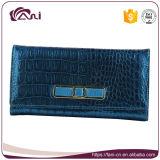 Кожаный бумажники элегантности для женщин, голубой повелительницы Бумажника зерна крокодила с высоким качеством