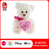 Urso da peluche do luxuoso do presente do Valentim com coração cor-de-rosa para meninas
