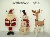 Cadeau de Noël Santa, Snowman & Reindeer, 3 Asst