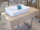 Parte superiore di vanità della stanza da bagno e parte di pietra di marmo beige di Backsplash