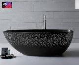 La pietra amichevole della resina di Eco dei 2017 commerci all'ingrosso elegante intaglia la vasca da bagno nera del reticolo