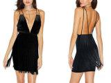 Черный без рукавов Strapy мини моды вентиляции назад метелками порванный жгут платья