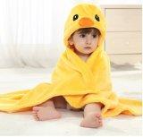Robe longue unisexe de peignoir de manteau de Hoodie d'animaux de flanelle de couverture de bébé Swaddling, canard