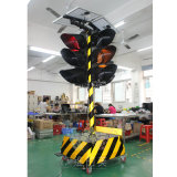 Portable 300mm Trolly Solar Warning Traffic Signal Light