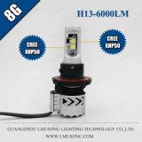 Lmusonu 최고 밝은 12V 35W 6000lm 8g H13 차 LED 헤드라이트 팬 디자인