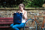 Bleu marine toile fourre-tout cuir marron Alban Pannier sac sac de vélo
