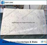 Сляб камня кварца Carrara белый для Countertop кухни с ценой по прейскуранту завода-изготовителя (мраморный цветы)