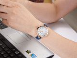 Het Echte OEM van het Geval van de Legering van het Leer Horloge van uitstekende kwaliteit van Vrouwen