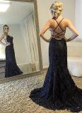 Black Lace Prom vestidos cordões Mermaid Parte noite vestidos E1817
