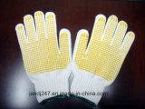 Pvc die van de bescherming de Goedkope Rimpel Met een laag bedekte Beschermende Handschoenen van het Werk Gloves/13gauge in Guangzhou stippelen