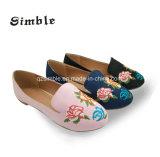 Замшевая отделка гладка PU верхний девочек повседневная обувь с Emboidering балета цветы