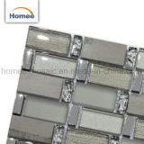 Nuevo diseño de la decoración del hogar de mezcla de piedra gris Cristal Strip mosaico de vidrio