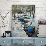 パレットナイフによる雪の景色の油絵