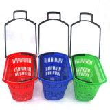Panier à provisions à quatre roues en plastique neuf de roulement du supermarché pp