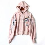 Braço floral cinza ocasional bordado de Hoodies do estilo frouxo do Short da cor-de-rosa da capa