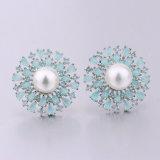 Grosse Perlen-Charme-Ohrring AAAzirconia-Silber-Frischwasserschmucksachen