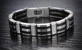 Roestvrij staal het Van uitstekende kwaliteit van Brazalet van de Armbanden van mensen & de Zwarte Band van de Manchet van de Juwelen van de Armband van Mens van het Silicone
