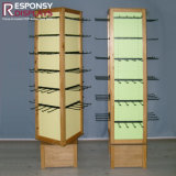 Soporte de visualización giratorio de madera de suelo de las ventas al por mayor de encargo para los ornamentos