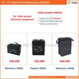 Высокая производительность 200Ah 6V глубокую цикла AGM аккумулятор для морских/EV/солнечной
