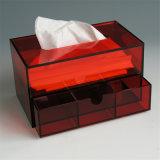 Широко используемая коробка ткани оптового люсита красная голубая с ящиком