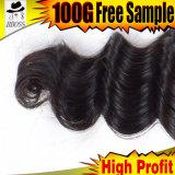 1b自然なカラー6Aインドの緩い波のRemyの毛