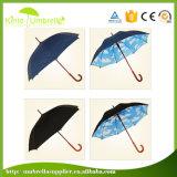 De la impresión azul del azul de marina de la alta calidad paraguas recto interno externo y blanca de las nubes