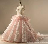 O árabe luxuoso nupcial floral dos vestidos de esfera do laço cor-de-rosa floresce o vestido de casamento inchado 2018 Lb18112