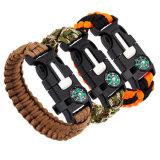 Boussole extérieure de bracelet de corde de Paracord d'hors-d'oeuvres d'incendie de sauvetage de trousse de survie pour augmenter camper
