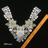 33*33см Слоновая кость с круглым вырезом горловины и вышитая Applique стиле воротник кружевной великолепные цветочные патч для шитья устраивающих платье долго платье Hme949