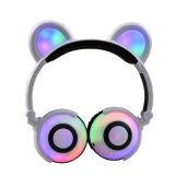 LED 빛을%s 가진 귀여운 곰 귀 헤드폰