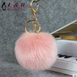 Catene chiave d'imitazione personalizzate variopinte della sfera POM POM della pelliccia del coniglio per il sacchetto