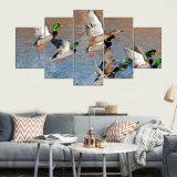 Decoración del hogar de la pintura de la lona para las impresiones del arte de la sala de estar en la impresión animal del paisaje HD de la caza del pato del panel del cuadro 5 de la pared de la lona