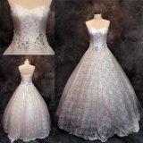 Vestidos de casamento nupciais de perolização de cristal feitos sob encomenda 2018 do vestido de esfera do laço