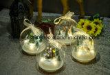 2018 neue Glaskugel des Entwurfs-LED mit Polyresin Abbildung innerhalb des Weihnachtsglaskugel-Geschenks