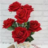 Fornitori artificiali all'ingrosso della Rosa Rosa della Rosa dei fiori artificiali dei fiori di tocco reale falso cinese di seta dei fiori