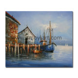 Handgemachtes dekoratives Farbanstrich-Boot und Lieferung auf Segeltuch für Wand-Dekor