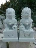 Escultura de pedra mármore branco natural Leão Escultura Animal para decoração exterior