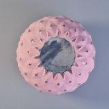 Colore rosa verniciato intorno ai supporti di candela di vetro di disegno del diamante di Mouted