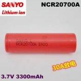 Nachladbare Batterie der Lithium-Ionenbatterie-NCR20700A 3300mAh 3.7V für SANYO