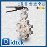 Válvula de mariposa compensada del motor del terminal del triple del eje de Didtek