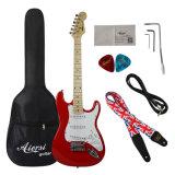Venda por grosso de estoque de fábrica colorida chama falsos Maple guitarra eléctrica