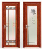 2018高品質木カラーアルミ合金のガラス開き窓の洗面所のドア