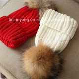 Tejidos de punto pelo Real Pom Pom atribuye Crochet Fancy sombreros caliente