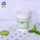 Firmenzeichen gedrucktes doppel-wandiger Schicht-Wegwerfkaffee-Papiercup mit Deckel