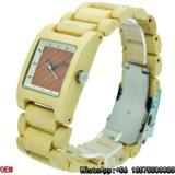O quartzo de madeira quadrado de bambu dos relógios do bordo Top-Quality presta atenção a Hl10