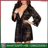 Encolure en V profond noir Hollow Out Robe sexy