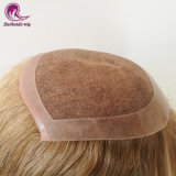 Toupee dei capelli biondi per gli uomini ed i capelli molli delle donne ed il merletto sottile
